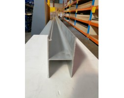 Aluminium H Gutter Set 6000mm 130x72mm w/shark fin